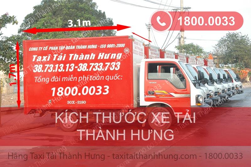 Kích thước xe tải 1,25 tấn của Thành Hưng