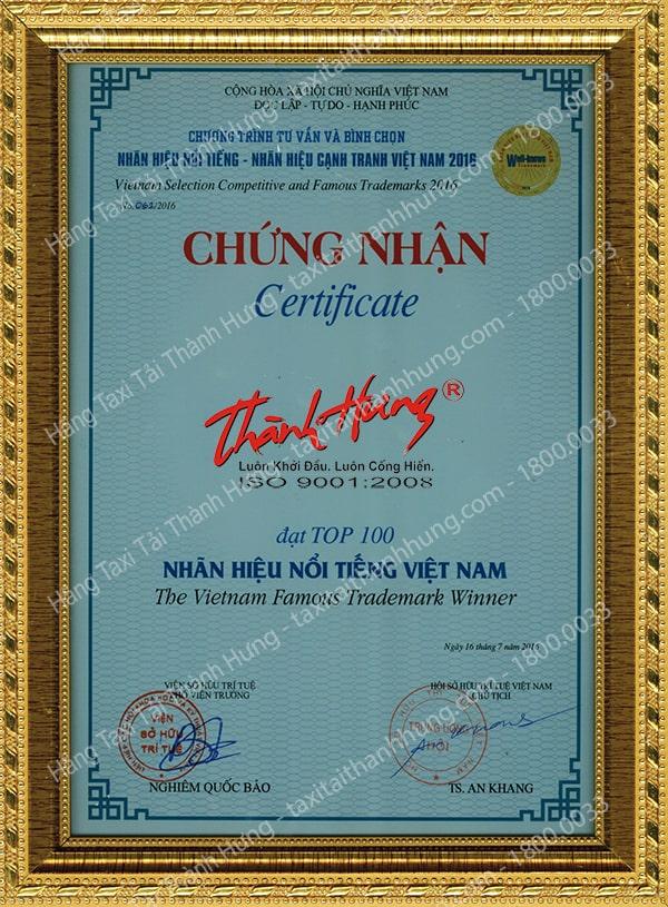 Chứng nhận giải Nhãn hiệu nổi tiếng – Nhãn hiệu cạnh tranh Việt Nam của Hãng Taxi Tải Thành Hưng