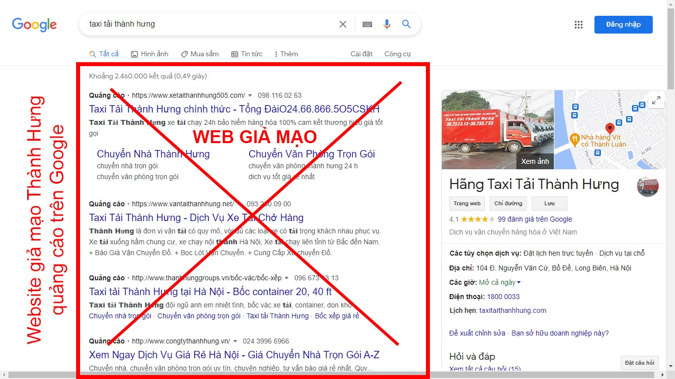 Một số website giả mạo Thành Hưng quảng cáo trên Google